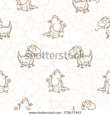 Fairy seamless pattern with cute cartoon dragons on white background. Vector image. - stock vector