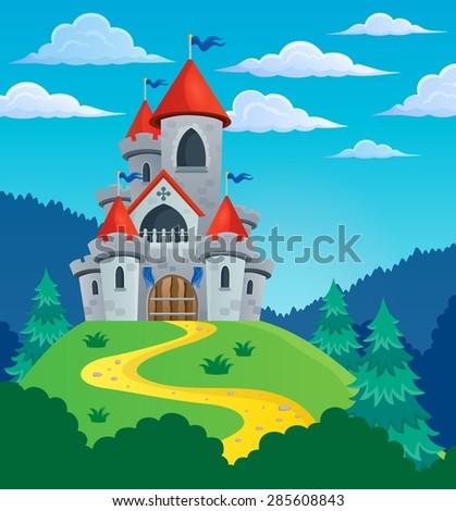 Fairy tale castle theme image 3 - eps10 vector illustration. - stock vector