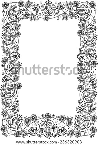 Fairy-tale flower frame. Retro, vintage, gothic style. Vintage frame with flowers , vector retro background. Flourish heraldry elements. Ornamental frame. - stock vector