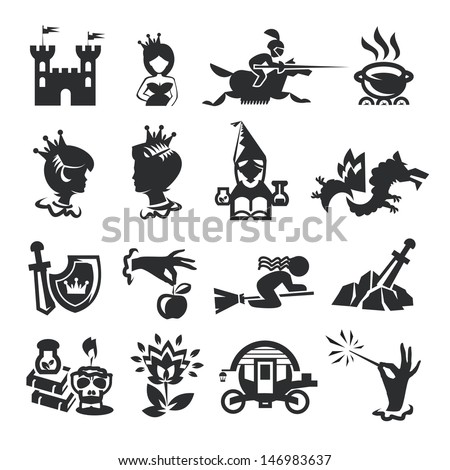 fairy tale icons - stock vector