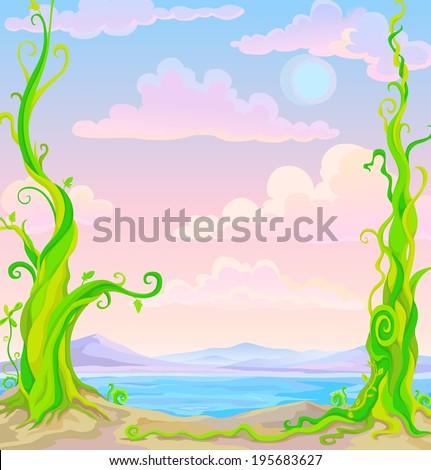 fairy tale landscape: mountains, sea and fantastic plants - stock vector