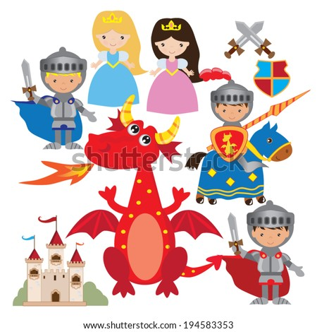 Fairy tale medieval knight, princess and dragon vector illustration - stock vector