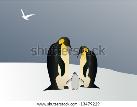 Fairy tale of Penguin - stock vector