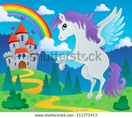 Fairy tale pegasus theme image 2 - vector illustration. - stock vector