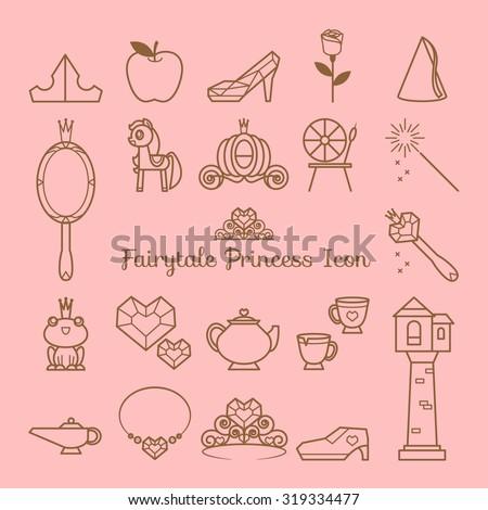 Fairy tale princess icon - stock vector
