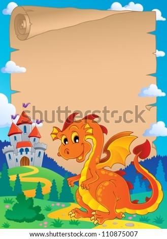 Fairy tale theme parchment 3 - vector illustration. - stock vector