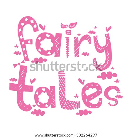 Fairy Tales / Pink romantic poster postcard greeting card sticker background design - stock vector