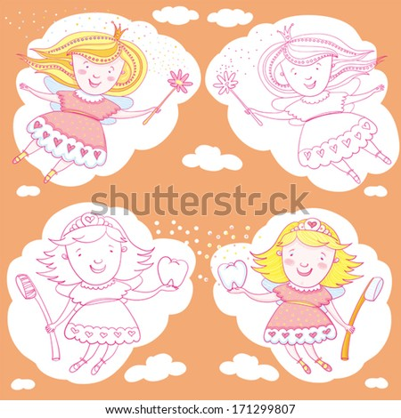 Fairy,Tooth And Magic Wand. - stock vector
