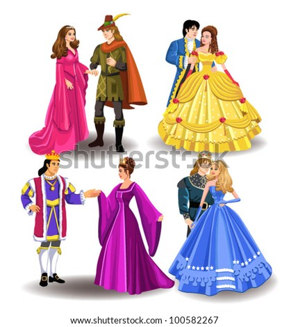 fairytale couples - stock vector