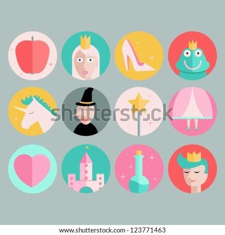 Fairytale Icons - stock vector