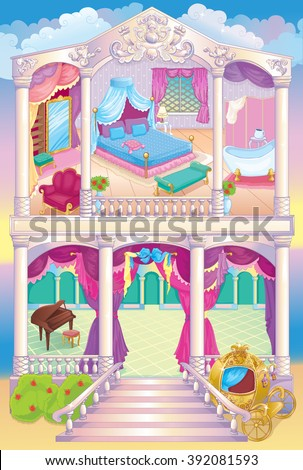 Fairytale Luxury Princess House - stock vector