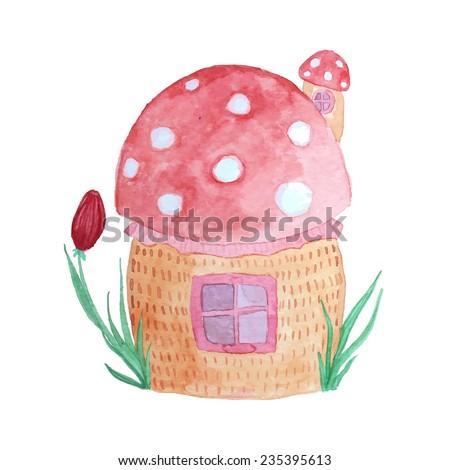 Fairytale mushroom house. Watercolor hand drawn baby illustration. - stock vector
