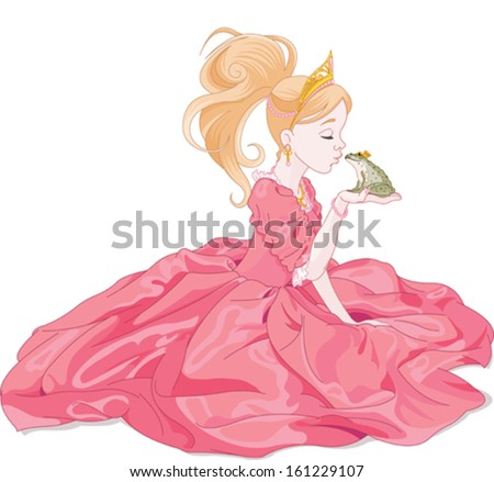 Fairytale Princess kissing a frog,  hoping for a prince. - stock vector