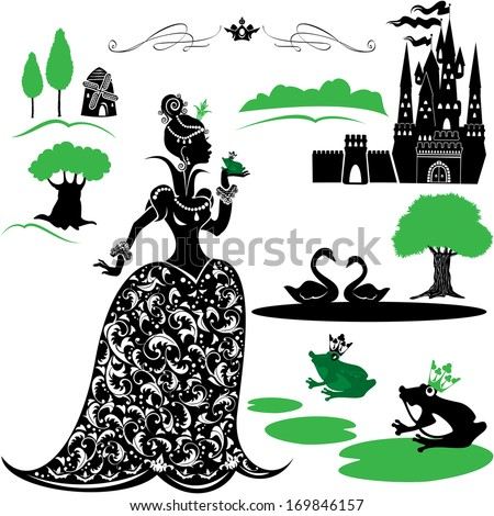 Fairytale Set - silhouettes of Princess and frog, castle, forest, lake, swans. - stock vector