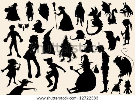 fairytale silhouettes - stock vector