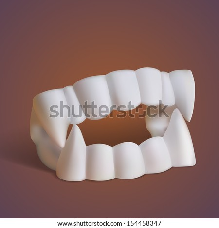 fake vampire teeth with fangs for halloween costume - stock vector