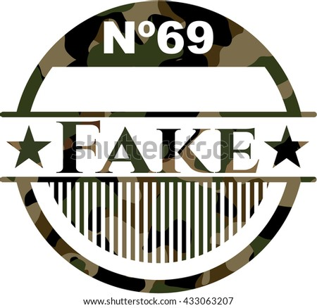 Fake written on a camouflage texture - stock vector