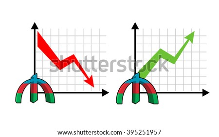 Fall and rise of courses manat , oil. Red down arrow. Green up arrow. Reduction quotes Azerbaijan currency, money. Increase of sales volumes of market for cash. Set graph for business infographics - stock vector