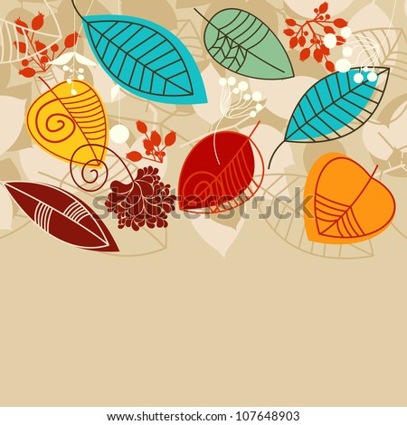 Fall background with leaves in bright colors - stock vector