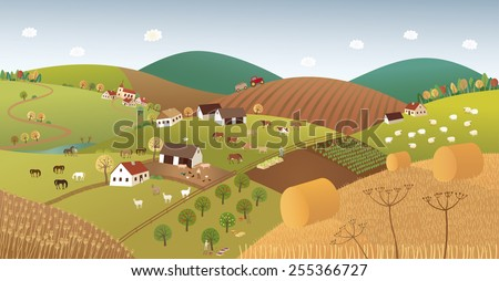 Fall farmer landscape - stock vector