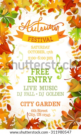 Fall Festival template. Bright colourful autumn leaves on vertical white background. You can place your text in the center. - stock vector