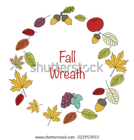 Fall leaves wreath in vector with grape, acorn, maple, oak, elm tree - stock vector