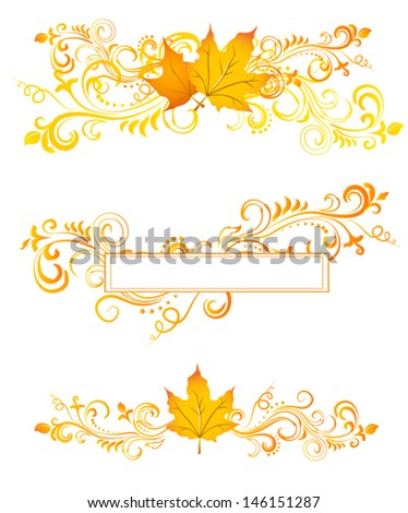 Fall orange floral ornaments with leaves on white. - stock vector
