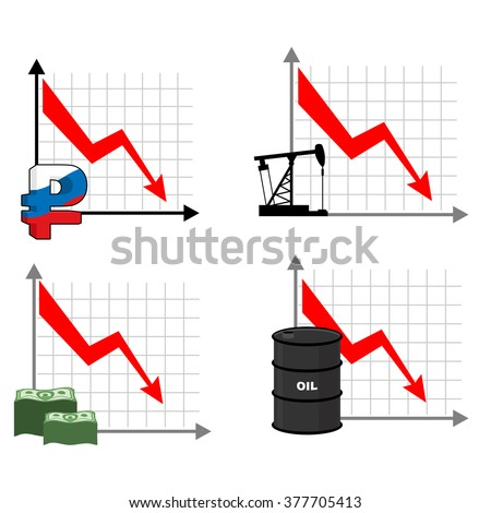 Fall rates of rouble and oil. Red down arrow. Reducing cost of barrels of oil. Reduction quotes Russian currency, money. Decline in  market for cash. Set graph for business infographics. - stock vector