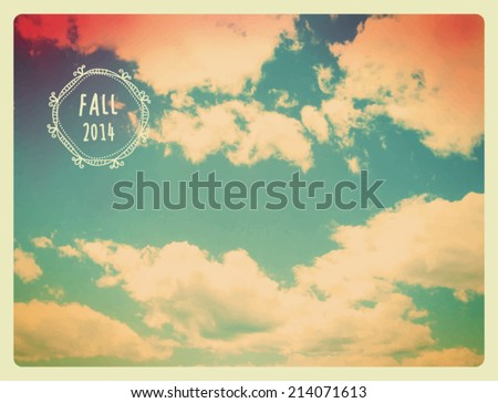 Fall Sky Background - Vintage autumn sky background with soft fluffy clouds, in sepia, blue, yellow and magenta tones, with doodle label  - stock vector