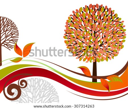 Fall tree and landscape  - stock vector