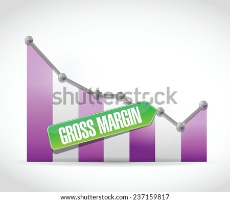 falling gross margin falling illustration design over a white background - stock vector