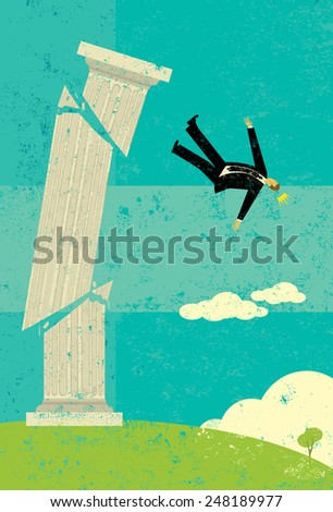 Falling off the pedestal A retro businessman falling from his high pedestal. The man & pedestal and background are on separate labeled layers. - stock vector