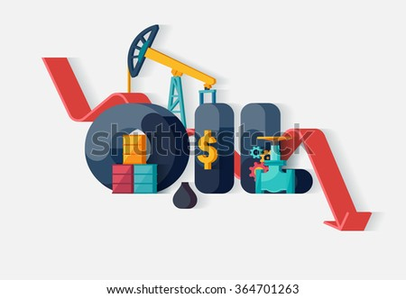 Falling oil prices. Typographic poster. - stock vector