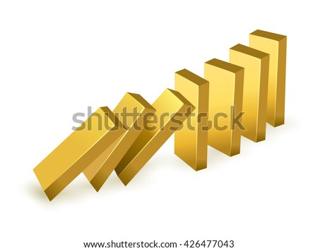 Falling price gold concept. Falling gold bars as dominoes. isolated on white background  - stock vector