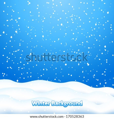 Falling Snow. Blue Winter Background  - stock vector