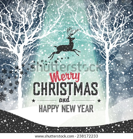 Falling Snow. Merry Christmas Background with Text - stock vector