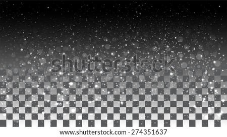 Falling snow on a transparent background. Vector special effects on a transparent background - stock vector
