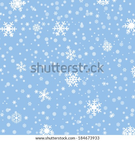 falling snow on the blue background - vector image - stock vector