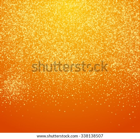 Falling Snow on the Orange Background. Christmas Holiday Mood Background. New Year Weather Background, Vector Illustration. - stock vector