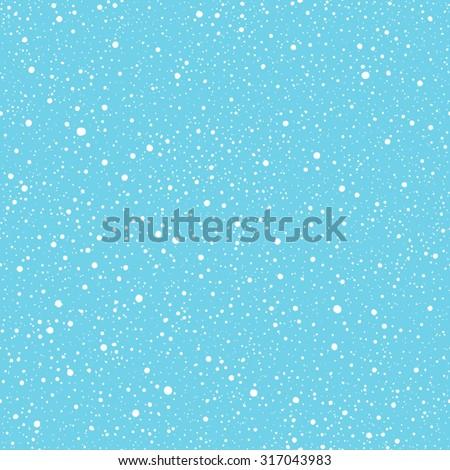 Falling snow vector seamless pattern. White splash on blue background. Winter snowfall hand drawn spray texture. - stock vector