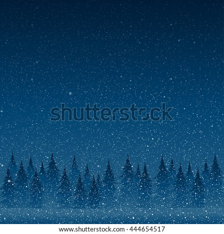 Falling snow vector. White splash on blue background. Winter snowfall hand drawn spray texture. Forest during a snow storm at night. Christmas tree. - stock vector
