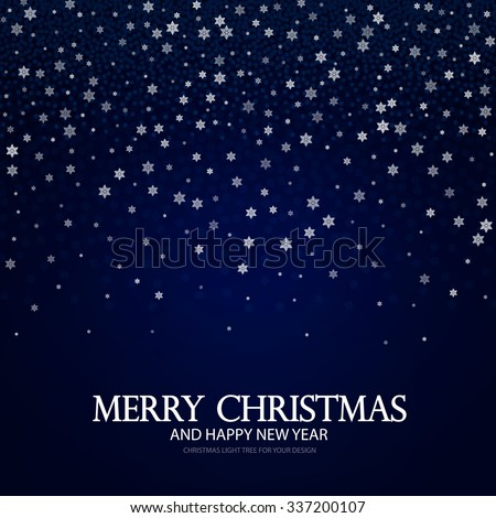 Falling Snowflakes Christmas, New Year & Winter Background. Vector illustration. - stock vector