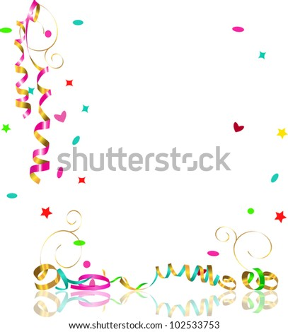 falling streamers and confetti - stock vector