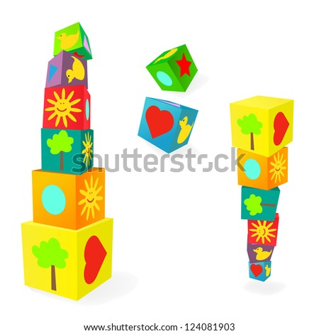 Falling tower of colorful childish play education cubes - stock vector