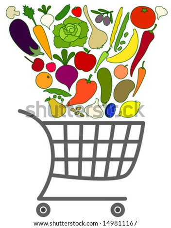 falling vegetables & fruits with cart - stock vector