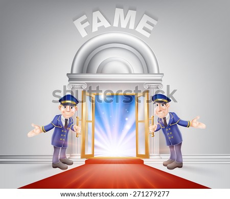 Fame Door concept of a doormen holding open a red carpet entrance to fame with light streaming through it. - stock vector