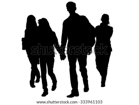Families people with little child - stock vector
