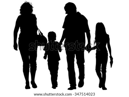 Families people with little child on white background - stock vector