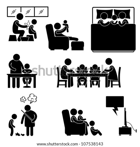 Family Activity House Home Bathing Sleeping Teaching Eating Watching Tv Together Icon Symbol Sign Pictogram - stock vector