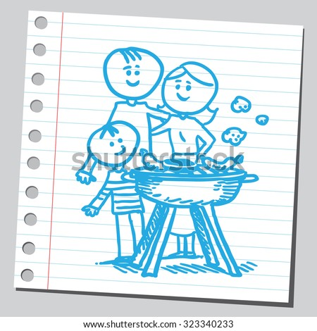 Family and barbecue - stock vector